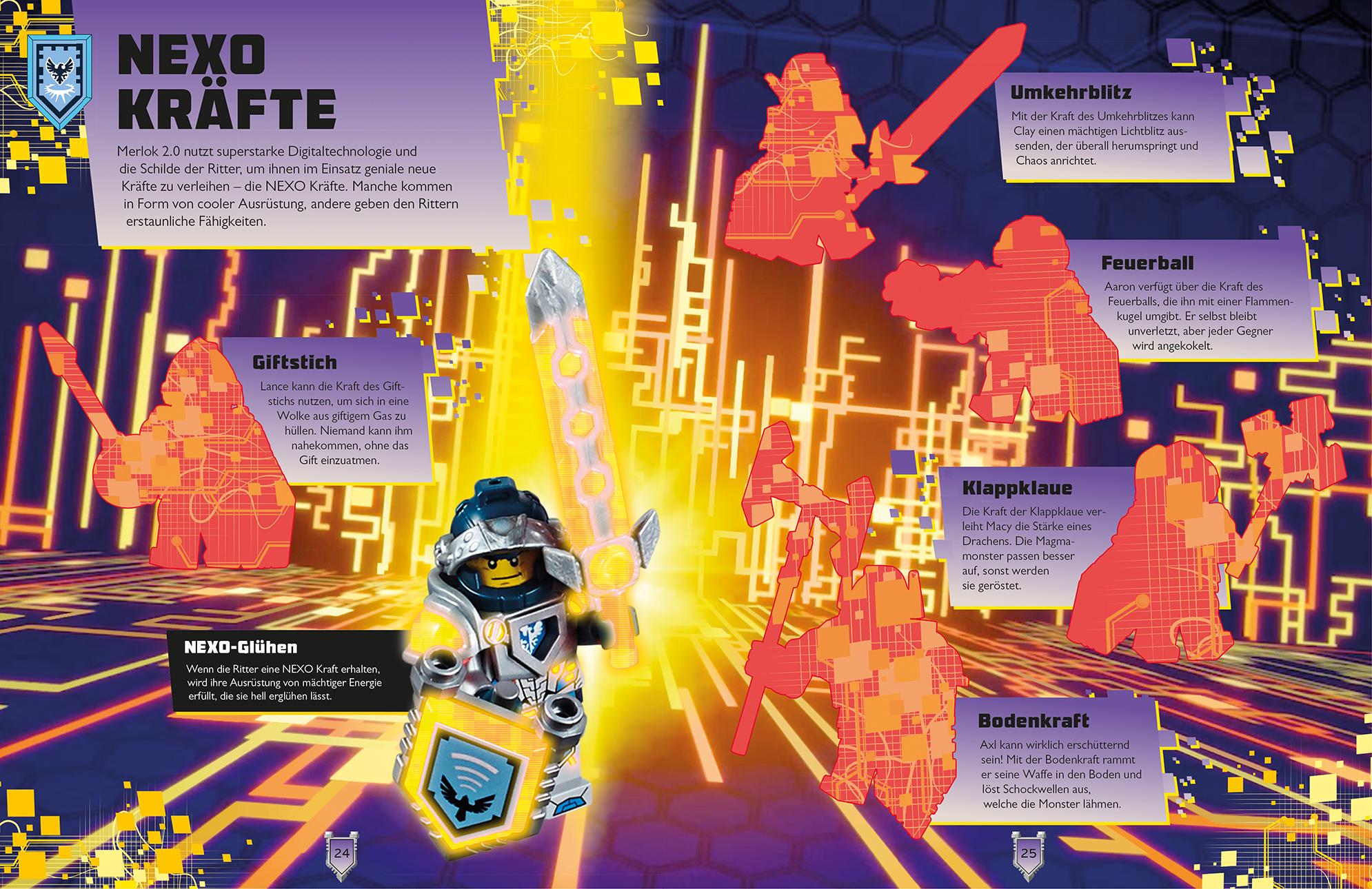 Fachbuch LEGO® Nexo Knights™ Rätsel mit Stickern und Schilde für das App-Game